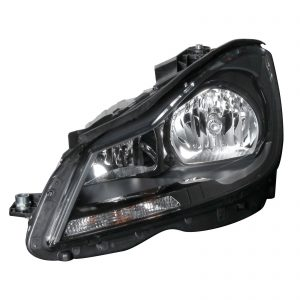 W204 Halogen Headlight With Black Chrome Left Hand Side Facelift (NEW)